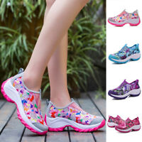 Women Breathable Sneakers Slip on Athletic Sport Wedge Heel Casual Creeper Shoes