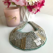 Silver and Matte Gold Bead Blue Bib Necklace