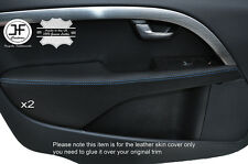 BLUE STITCH 2X FRONT DOOR ARMREST LEATHER COVERS FITS VOLVO V70 2007-2014