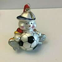 Vintage Blown Glass Soccer Christmas Ornament Teddy Bear