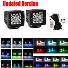 "Set 2pc CREE Led Work Light Bar 3"" Cube Pods w/ RGB Halo Ring Chasing Change Kit"