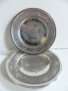 SUPERB SET OF 6 STERLING SOLID SILVER 875 PERSIAN PLATES 1344 grams MARKED 84