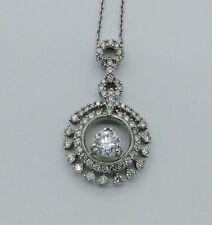 "18K AU750 White Gold d/0/50 side 0.75 Ct Diamond Pendant w/16"" Necklace PIN01003"