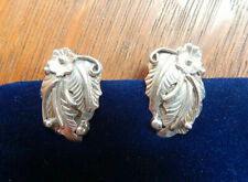 Navajo Spencer Sterling Silver Feather Flower Applique Clip On Earrings