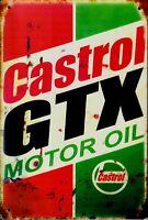"""Retro Blechschild Vintage Nostalgie look 20x30cm """"Castrol GTX"""" neu"""