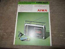 AIWA TPR-401 Portable radio Cassette player recorder Original Catalogue