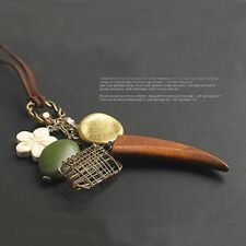 Brown Nest Long Wood Horn Leather Rope Necklace Sweater Chain Pendants Flower