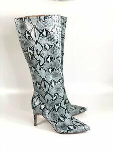 Steve Madden Kinga Embossed Snake Print Boots 7.5 Faux Leather Blue Black