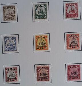 RARE 1901- German Samoa lot of 9 Hohenzollern stamps Mint