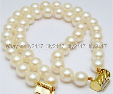 Japanese Akoya White Pearl Bracelet 14k New 2 Row Aaa+ Superb 10-11Mm