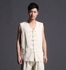 Beige Chinese Men's tradtional Linen Kung Fu Shirt Tops vest Sz M L XL 2XL 3XL