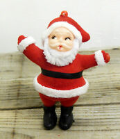 Vintage Retro Flock Covered Santa Father Christmas Tree Decoration