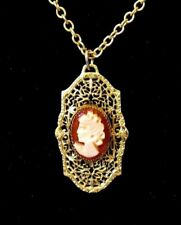 Jewelry Cameo Victorian style Filigree CAMEO CARVED Profile 12k Gold Filled