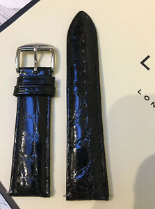 22mm LINKS OF LONDON BLACK REAL CROCODILE LEATHER WATCH STRAP 60901541