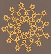 Tatting Tatted bud vase doily /snowflake gold size 20
