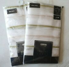 "Dunelm 2 packs Voile Net curtains white & green stripes 140cm x 120cm (55""x47"")"