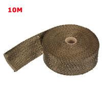 Brun 10M Bande Thermique Echappement Isolant Tuyau Collecteur + Câble en Inox