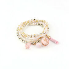 Fashion Women Bohemian 1 PC Multilayer Elastic Bead Bracelet Bangle Xmas Gift Pink