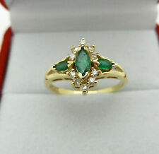 Estate 14k Yellow Gold 3 Emerald Stones Ring with Diamonds Accent