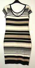 BLACK WHITE BROWN STRIPED LADIES CASUAL DRESS STRETCH SIZE 10 DOROTHY PERKINS