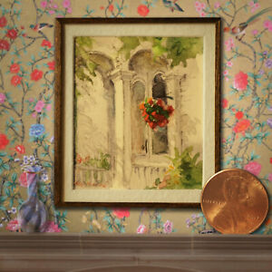 Noel Thomas - IGMA Fellow - Watercolor Painting of Castine Porch -  1:12 scale