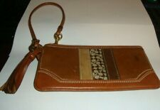 Coach Brown Leather Wristlet With Tassel Small