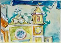 ORIGINAL Watercolor painting on paper artwork SIGNED by artist Italy Ischia