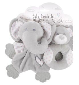 Plush Baby Boys Girls Soft Touch Elephant Comforter Blanket & Bear Rattle Set
