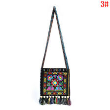4235f6e476 Vintage Canvas Ethnic Shoulder Bag Embroidery Hippie Tassel Tote Messenger  Bag