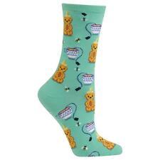 Honey Bear Trouser Crew Socks Mint BG NWT Women's Sock Size 9-11 HOTSOX