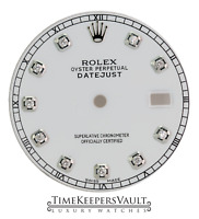Custom White Diamond Dial to Fit Rolex Datejust Stainless Steel 36mm Model