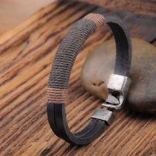 Fashion Men Wrap Leather Wristband Black Brown Surfer Vintage Hemp Bracelet 1pc Black