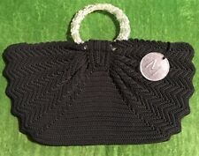 Vtg 40s Black Silk Corde Crochet Fan Purse Lucite Handles Talon Zip Monogram M
