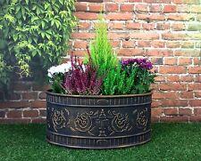 Verona Garden Planter Black & Gold Efffect / pot tub patio flower shrub oval