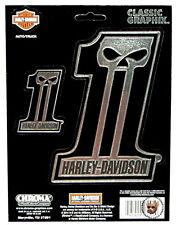 HARLEY DAVIDSON DARK CUSTOM SKULL EMBOSSED CHROME DECALS *SET OF 2* MADE IN USA