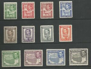 SOMALILAND PROTECTORATE SG93-104  1938 GVI SET OF 12 LIGHTLY MOUNTED MINT C.£150