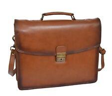 Men Briefcase Italian Leather Soft Slim Satchel Antique Vintage Tan Business Bag