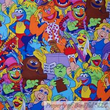 BonEful FABRIC FQ Cotton Quilt Rain*Bow MUPPET Miss Piggy Kermit Frog Gonzo Girl