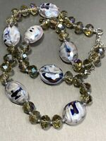 Vintage Beautiful Art Glass Beaded Pendant Ab Crystal Beaded Necklace Hand Knot