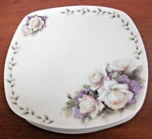 "Premium Bone China Square plates set of 6, ROSE MARIE  6.5"" Cream Purple Green"