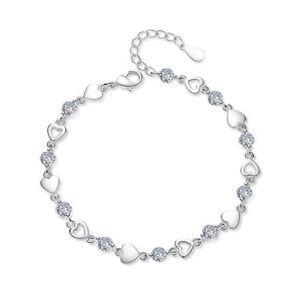 Crystal Heart Charm Link Bracelet 925 Sterling Silver Womens Girl Jewellery Gift