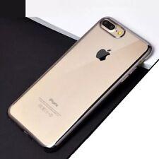 Funda carcasa para iPhone 7 Plus Gel Transparente bordes Gris Espacial