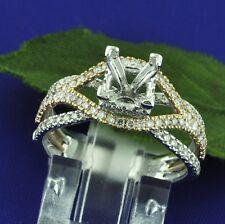 18k Solid White Rose Gold 0.80 ct Semi Mount Natural Diamond Ring  Princess Cut