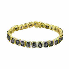 Icy Yellow Gold Finish Black Onyx Solitaire Simulated Diamond 8.5'' Bracelet