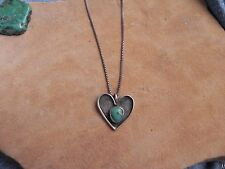 Turquoise & Sterling Silver HEART Pendant & Sterling Necklace signed Navajo