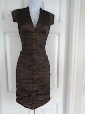 Nicole Miller Collection Cooper Metallic Crinkle Ruched Fitted Dress 2p