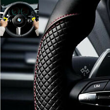 Car Steering Wheel Cover Breathable Anti-slip Black PU Leather Red Line 15inch