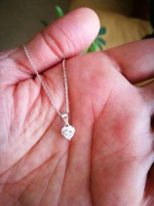 1Ct Diamond Solitaire Heart Shape Pendant Necklace 14K White Gold Over Chain