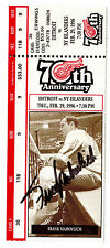 Detroit Red Wings 1996 70th Anniversary Ticket w/ Frank Mahovlich-Signed