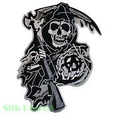 "12"" SOA Skull Grim Fear the Reaper Anarchy Biker Back Patch Motorcycle Vest XL"